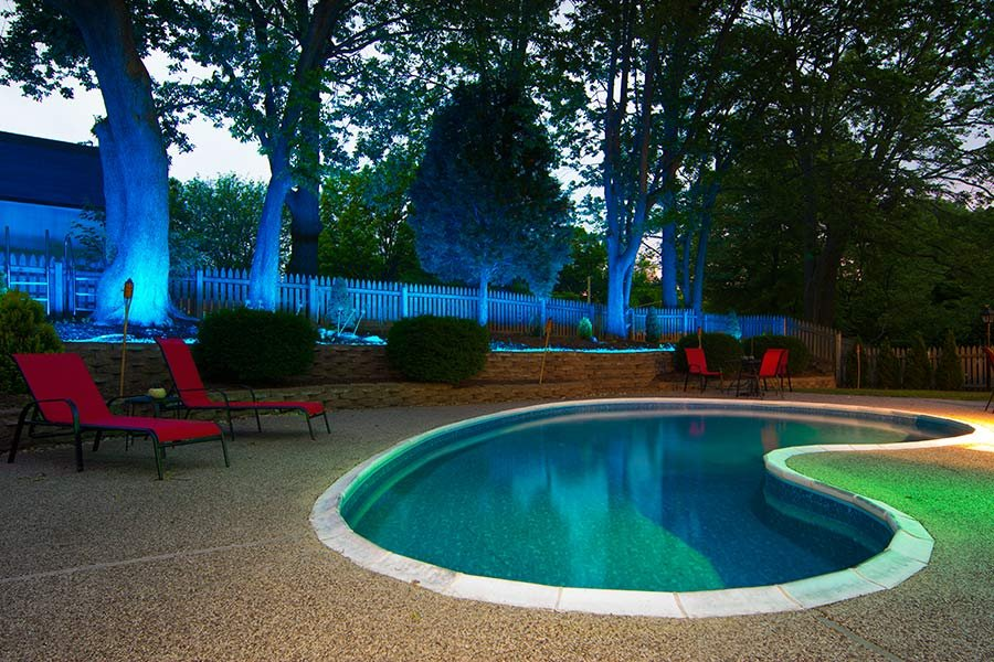 Color changing LED pool and patio lighting