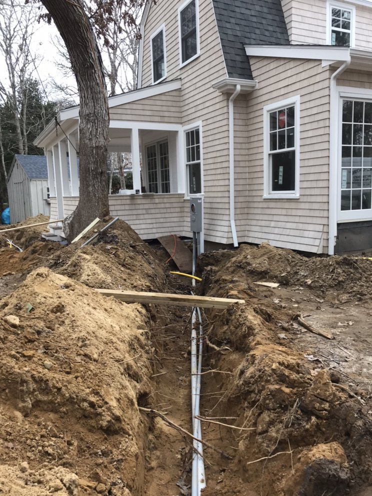 Electrical underground conduit for new home